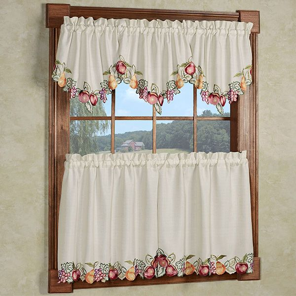 Fruitful Embroidered Kitchen Ascot Valances And Tier Curtains Valance Tier Curtains Curtains