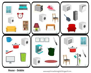 dobble game house vocabulary items devices kids english