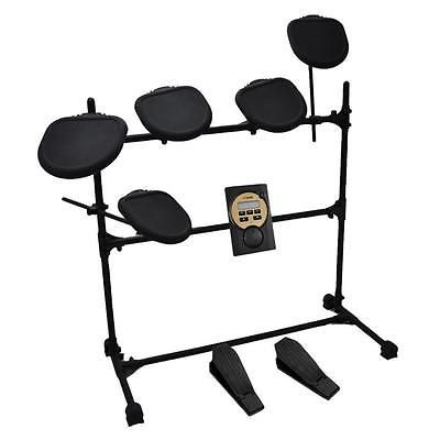 Pyle PED041 MP3 Play Along Headphone Compatible 7-piece Electric Drum Set with F