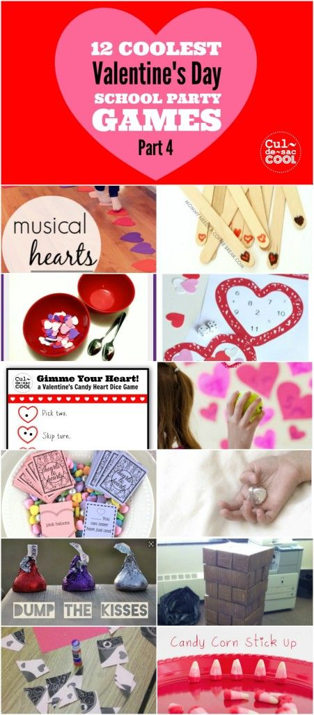 12 COOLEST VALENTINE'S DAY SCHOOL PARTY GAMES — PART 4. Is your heart all aflutter because Valentine's Day is coming up? Or is it just your blood pressure rising because you realized you have to plan a classroom Valentine's Day party for a bunch or wiggly, noisy kids? Never fear, I'm here with my 12 Coolest Valentine's Day School Party Games — Part 4. Everyone from preschoolers to 6th graders will be entertained with these fun, easy and age appropriate school party games! Good luck!