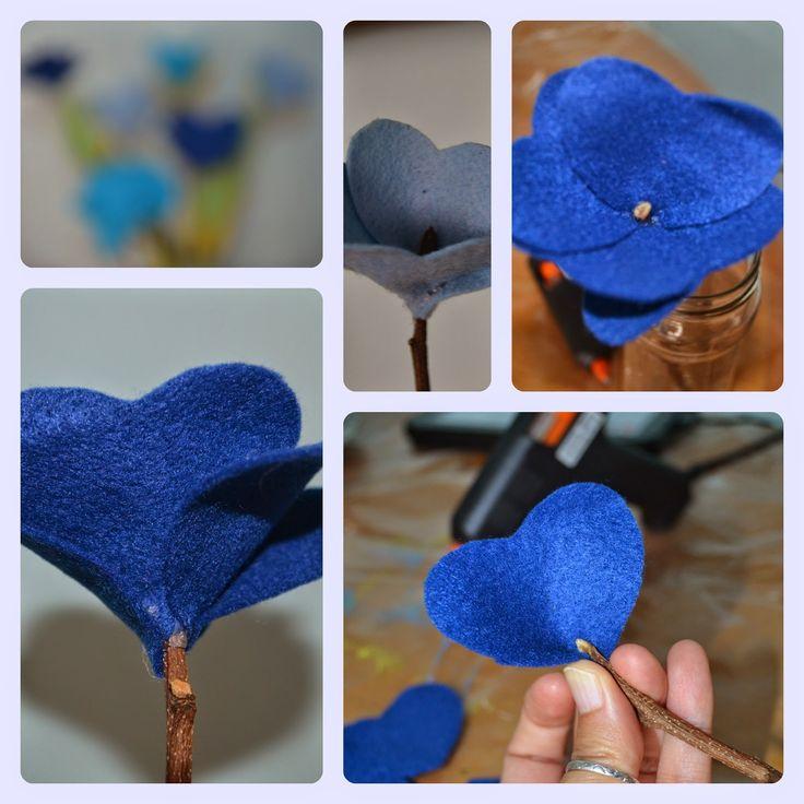 Buquê de flor de feltro