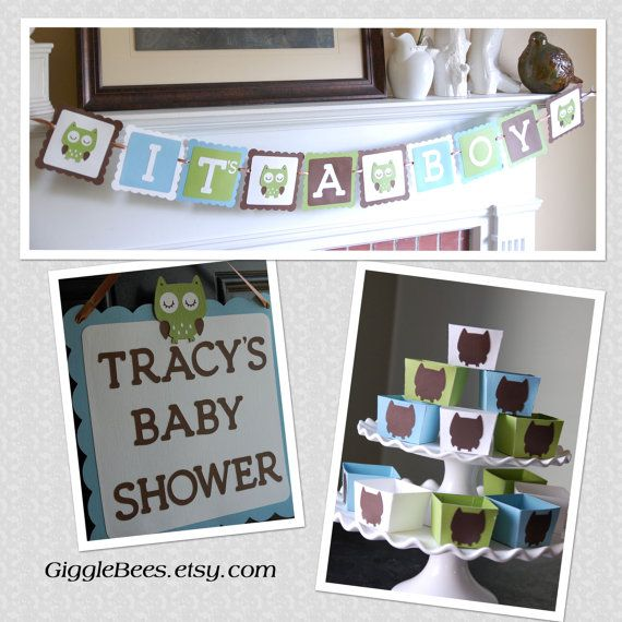 Owl Baby Shower Package Owl Decorations It's A Boy by GiggleBees, $40.00