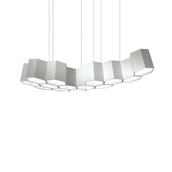Lámpara de suspensión composición de catorce módulos, estructura en tecnopolimero de alta densidad lacado blanco.