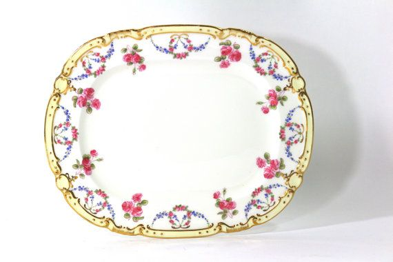 1880s Tiffany & Co Serving Platter Roses by Minton by Nachokitty