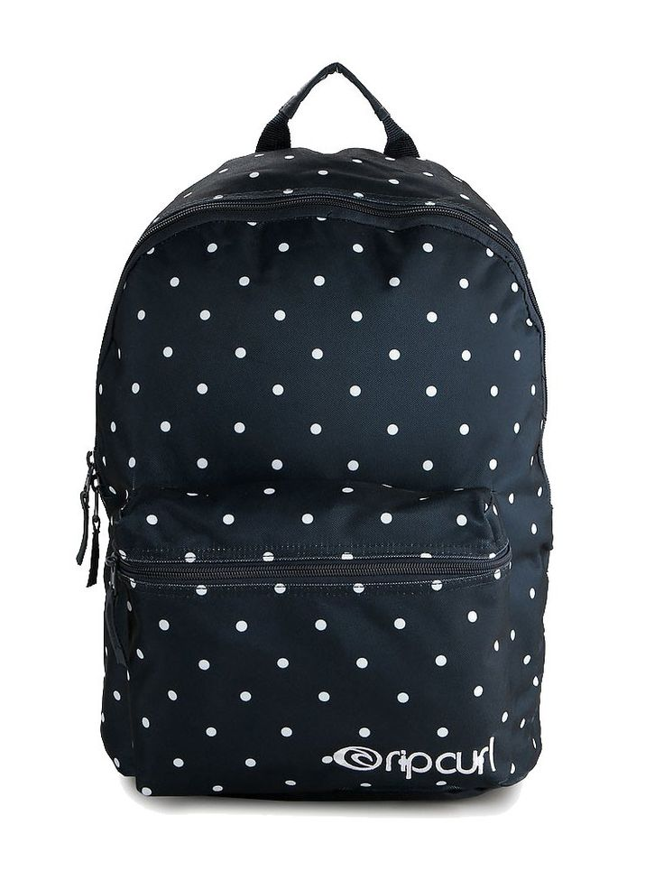 Confetti Dome Backpack by Rip Curl. Backpack that made from polyester with navy color, one main compartment, front pocket, zipper closure, polka dot pattern print all over the backpack, adjustable padded strap.   http://www.zocko.com/z/JHxKv