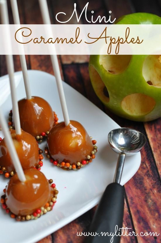 Mini Caramel Apples Recipe - such a cute idea!  Less mess and more caramel for every bite