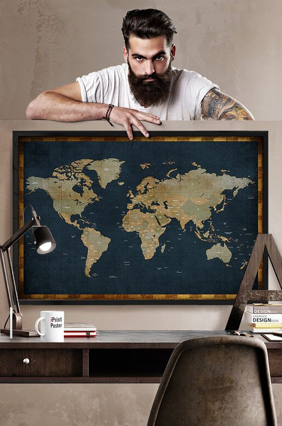large world map in vintage style 24x36 inches, detailed world map print, world map poster, travel print, wall art, wall decor, iPrintPoster