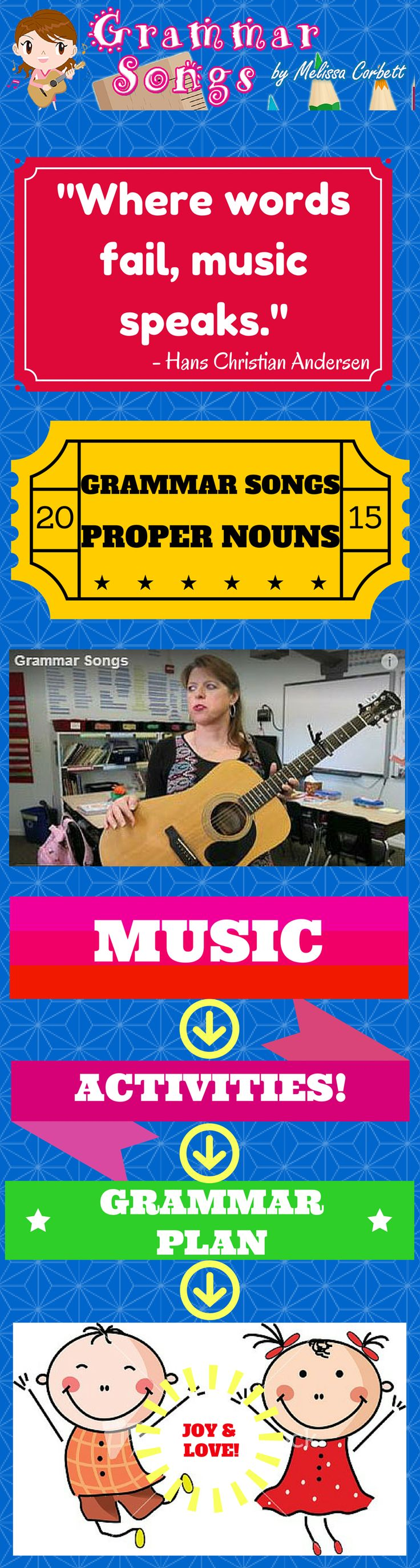 """(Free Grammar Videos and Activities) Proper Nouns by Melissa...This song was written to highlight the numerous cases where proper nouns need to be capitalized. When teaching the concept in class, I like to illustrate the way using a proper noun makes the noun more specific. For example, I could say """"The girl went to the restaurant."""" However, if I say, """"Inari went to Taco Bell,"""" the reader would have a much clearer picture in his/her head of what happened."""