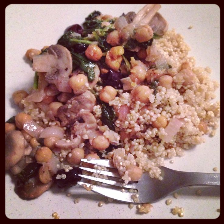 Chickpeas sautéed with shallots, olives, spinach, and mushrooms