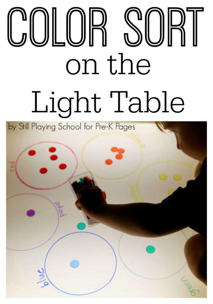 color sort light table for preschool