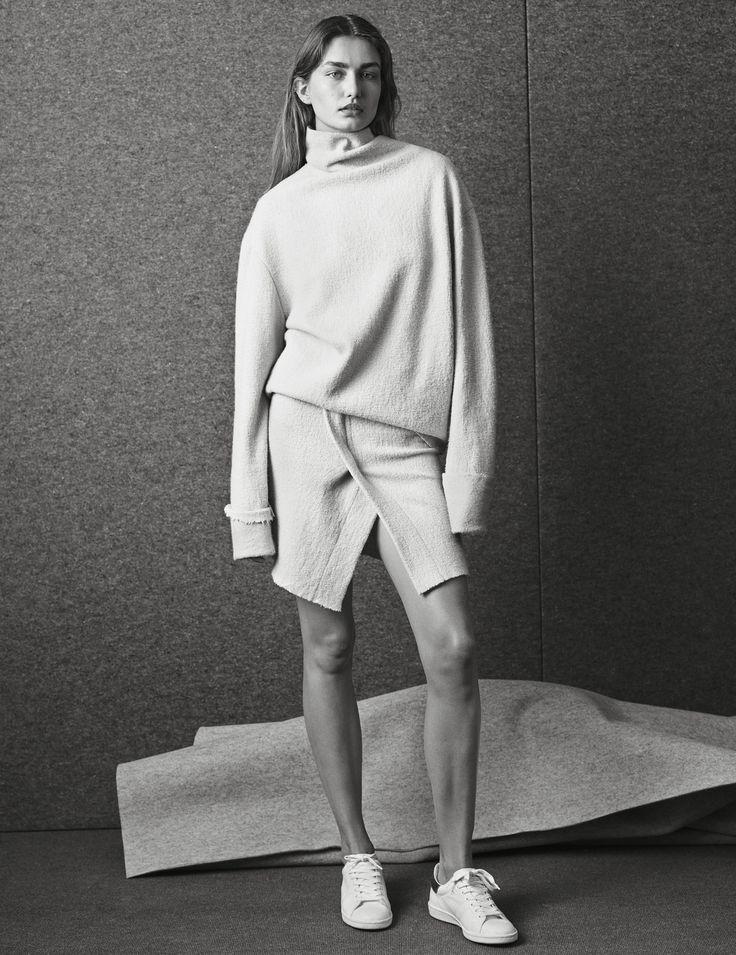 Andreea Diaconu for Isabel Marant, white turtleneck sweater, white skirt, white sneakers
