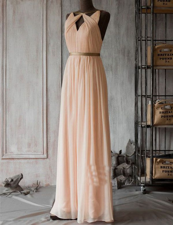 Fashion Scoop Neck With Hole A-line Peach Long Bridesmaid Dress