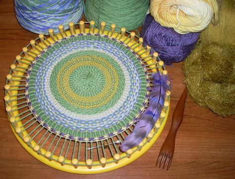 Weaving - Creating a lovely Round Yarn Winter Sampler on a 41 peg loom.  Posted by HeartSong Studio.