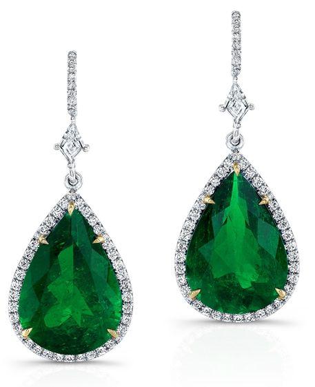 Carl K Gumpert one-of-a-kind emerald drop earrings