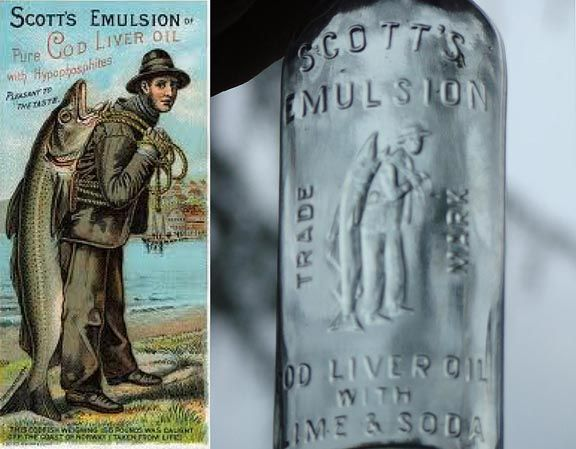 vintage bottle of fish liver oil | ... LIVER OIL with embossed fisherman and fish. Hate to walk a mile with