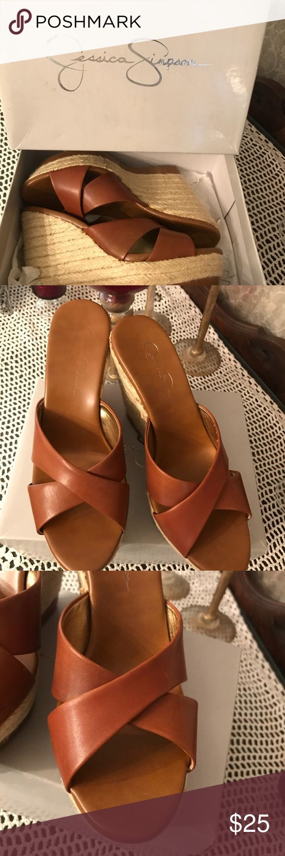 SUPER CUTE Jessica Simpson wedges Jessica Simpson wedge shoes - lightly worn - great Preloved condition. Desert sand color. Does has a small ink spot on one of the shoes but isn't noticeable when worn. AWESOME shoes!! Jessica Simpson Shoes Wedges