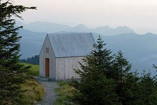 Again a picture of the Minimalist mountain chapel.  I could not imagine any other location for this chapel. On a mountain away from anything, nothing nearby to distract the visitors. A quiet site with nothing more but just a Chapel.