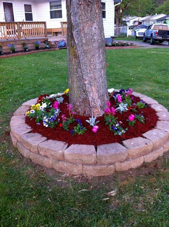 aranjamente de gradina cu pietre si flori Stone and flower garden design ideas 4