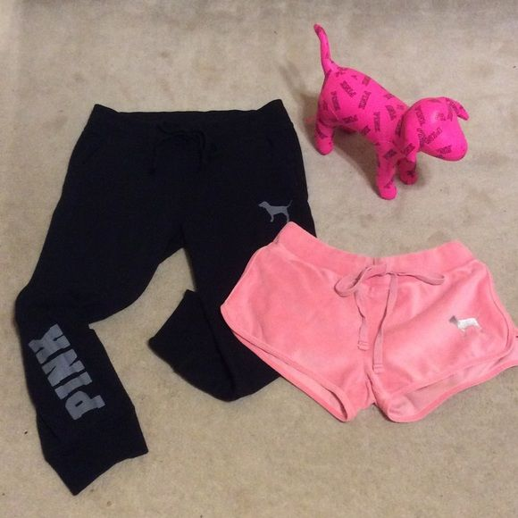 Victoria's Secret XS Pink Bundle Black Capri length sweats have gray detail & hardly worn.  Salmon color velour shorts have shiny silver detail.  Stuffed dog is fuschia & black.  Both in XS size. Victoria's Secret Pink Pants