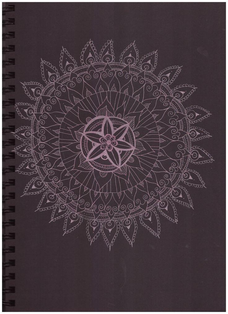 #pattern #in #black #paper #pink #mandala