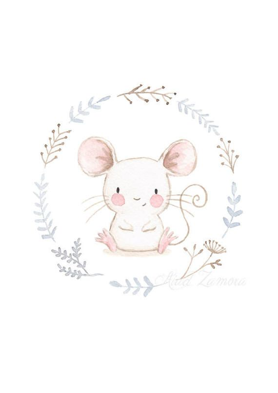 NURSERY Art MOUSE Art Print Nursery Illustration.