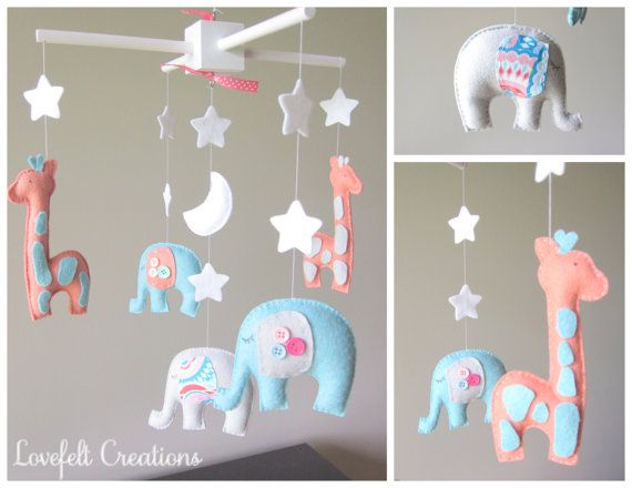 Baby mobile - Baby crib Mobile - Elephant Mobile - Nursery Mobile - Baby boy Mobile - You can PICK ur COLORS and FABRIC :) on Etsy, $150.00