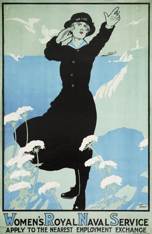 Wartime Womens Royal Naval Service recruitment poster / The WRNS, popularly and officially known as the Wrens, was the women's branch of the Royal Navy. First formed in 1917 for WWI, it was disbanded in 1919, then revived in 1939 at the beginning of World War II and remained active until integrated into the Royal Navy in 1993.