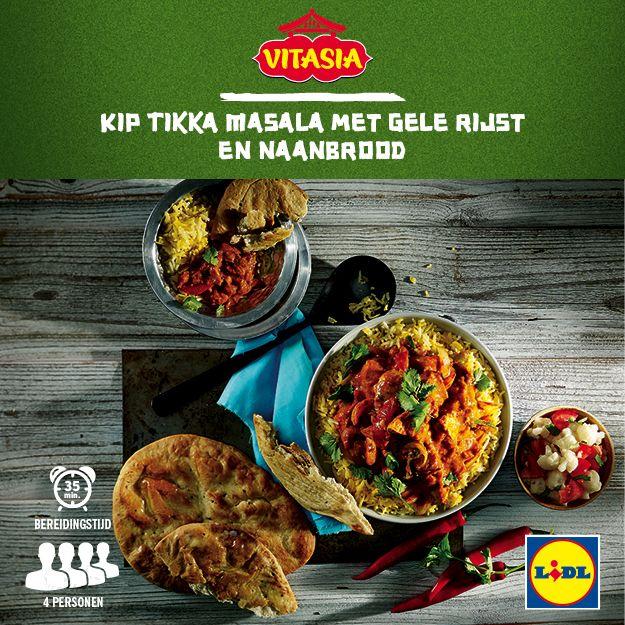 Deze kip Tikka Masala met gele rijst en naanbrood is gemakkelijk zelf te bereiden! Meer Vitasia recepten ontdekken? Kijk op www.lidl.nl #Vitasia #Lidl