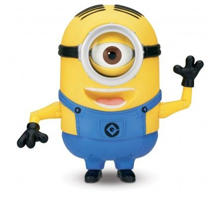 Despicable Me 2 Minion Stuart Laughing Action Figure - 1ea  Over 45 Minion sayings/giggles in Original voice.Press his pocket to hear Stuart talk with funny expressions Press his pocket again or move his head for another response/expression.Soft skin Try Me packaging-2 AA batteries included for in-store demonstration; Ages 4 and up.