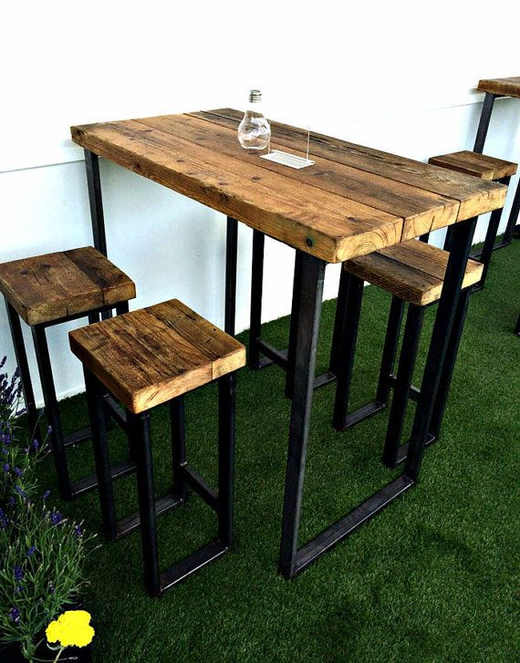 reclaimed industrial 4 seater chic tall poseur table wood metal desk dining bar cafe restaurant tables steel metal hand made bespoke 346 - Restaurant Dining Room Furniture