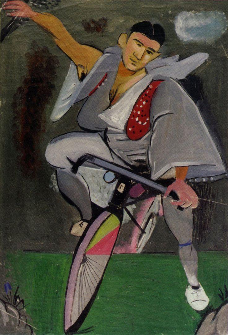 Ποδηλάτης με κόκκινο γιλέκο, 1936.  Ίδρυμα Γιάννη Τσαρούχη