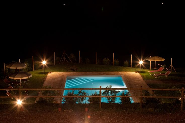 The pool area at the farmhouse in the Tuscan countryside around Chianni, in the Pisa's area.