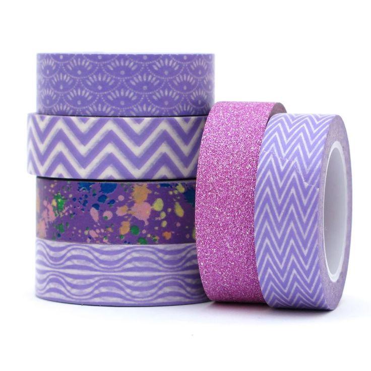 Washi tape purple set with glitter deco tape chevron, decorative card making