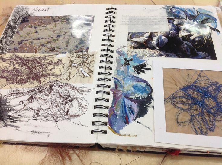 A-level Textiles Sketchbook - observational drawings of shells & stitched illustrations exploring line & colour; art portfolio