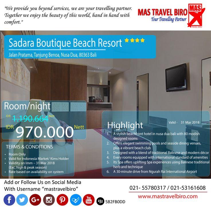Mas Travel Biro punya promo bermalam di Hotel Sadara Boutique Beach Resort **** dengan harga Rp 970.000/Malam   Untuk pertanyaan informasi tour,harga tiket pesawat, booking hotel tiket kereta api Add WA : 081298856950 Phone : 021 55780317 Email : tourhotel.metos@mastravelbiro.com  Beli tiket pesawat & KAI, booking hotel dan beli paket tour diMas Travel Biro ajaa.  #mastravelbiro #promotravel #travelagent #tourtravel