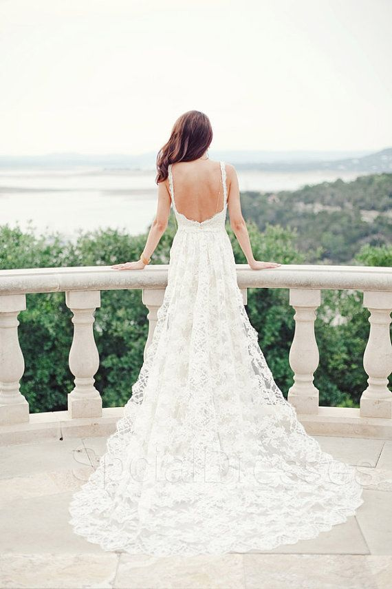 Royal Cathedral White Lace A-line Spaghetti Straps Cathedral Train Lace Wedding Dress