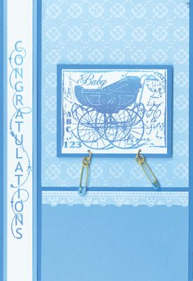Stamp-it Australia: 3725E Baby Buggy, 3857D Congratulations Curves Down - Card by Lexie