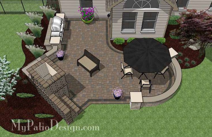 Create your own private and cozy getaway right in your backyard with our L Shaped Patio Design with Grill Station and Fireplace. Layouts and material list.
