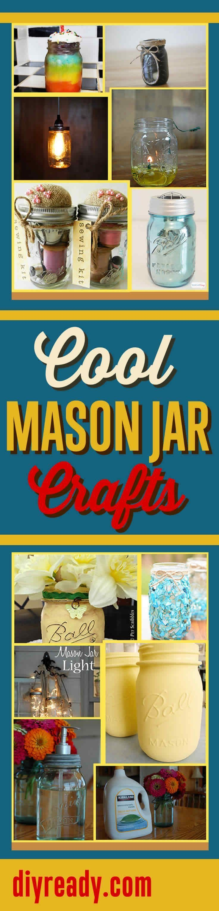 Cool Mason Jar Crafts & Do It Yourself Project Ideas at DIY Ready Projects http://diyready.com/mason-jar-crafts-cool-projects-with-mason-jars/