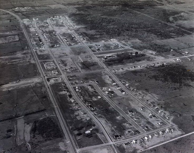 An aerial shot of Ingleside, Ontario, just after the flooding of the Lost Villages.  Photo Credit: Library and Archives Canada.