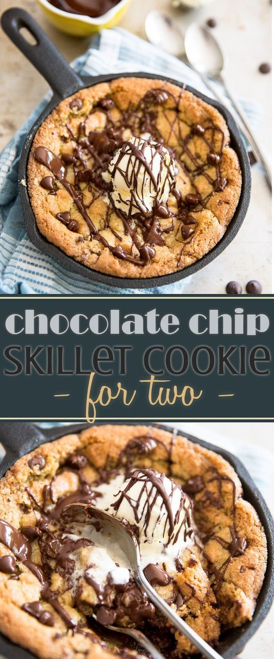 Chocolate Chip Skillet Cookie for Two Recipe via My Evil Twin's Kitchen - Soft, crispy, ooey, gooey and deliciously sweet, this adorable little Chocolate Chip Skillet Cookie is just the perfect size to be shared with your favorite someone... or not!