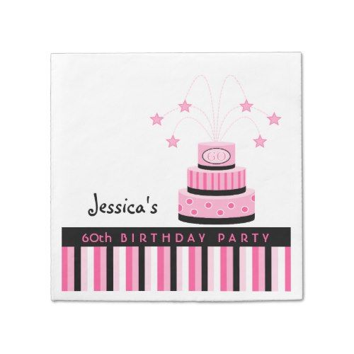 Pink and Black 60th Birthday Cake Party Napkins