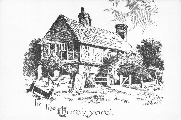 #retweet #postcards Postcard Art Sketch Drawing In The Churchyard, Lingfield In The 1890's SURREY #RT 50% OFF when you Buy 3+