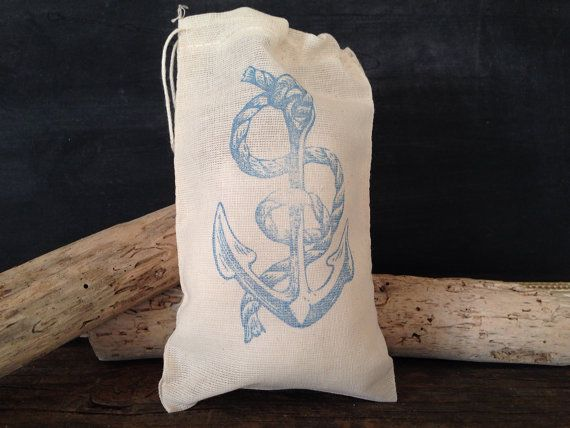 Anchor Muslin Bag Nautical Wedding Party Favor by SweetThymes, $15.00