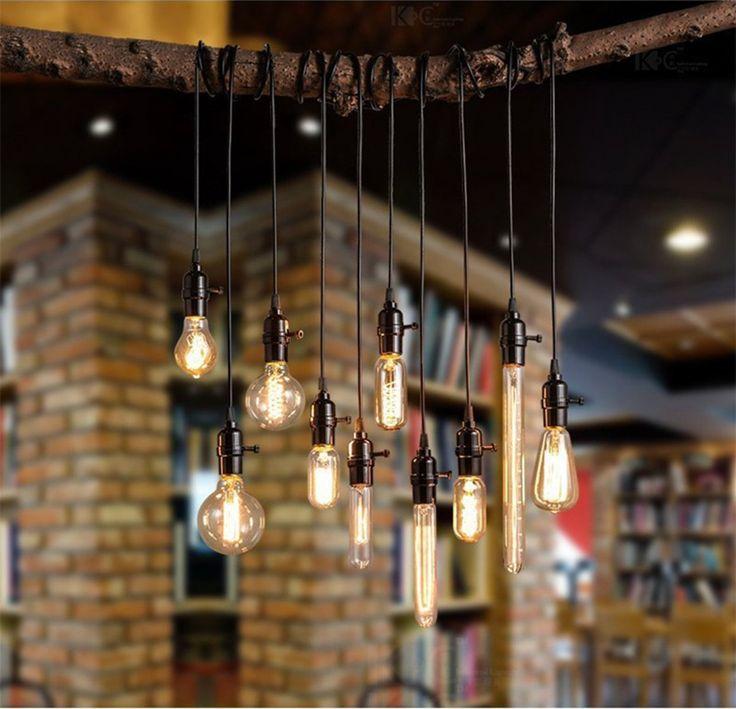 KINGSO E27 Lampenfassung Vintage Edison Pendelleuchte Retro Hängelampe DIY Lampe mit 3x Fassungen und Schalter(ohne Birne) Imitation Bronze: Amazon.de: Küche & Haushalt