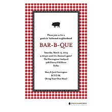 Gleeful Gingham BBQ Barbecue Party Invitations