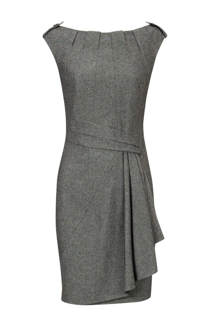 Grey dress w/ angled sash to folded side pleat and square pleat neckline. Subtle. Karen Millen