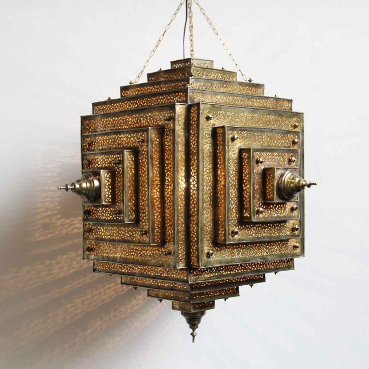 Shop our lights at Mix Furniture! Hand cut brass work square stacked lantern with beautiful detailed workmanship.  Hand made in Morocco.
