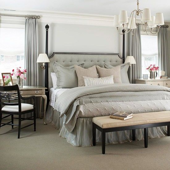 Gray tan white bedroom  notice the end tables and the tufted head board. Best 10  Bedroom end tables ideas on Pinterest   Decorating end