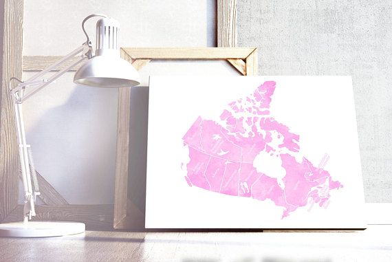Pink Canada Map. Canada Map Print. Canada Watercolour Effect Map. Digital Download ...............................................................  This is a listing for a digital file, you will be downloading a high resolution file that you can print at home or your local printing store and frame for yourself or for gifts.   → HOW IT WORKS ←  - Purchase the item - After the payment is confirmed you will be redirected to the download page - Download, save in your computer and print   → YOU…